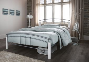Serene Tetras Silver And White Metal Bed Frame