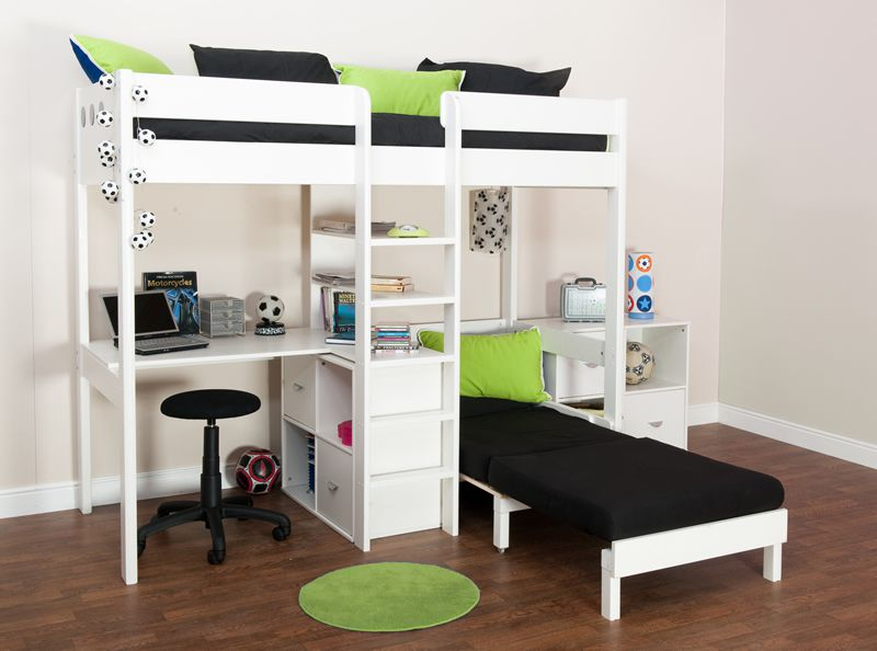 Bunk Beds Stompa Uno Wooden High Sleeper With Futon Chair