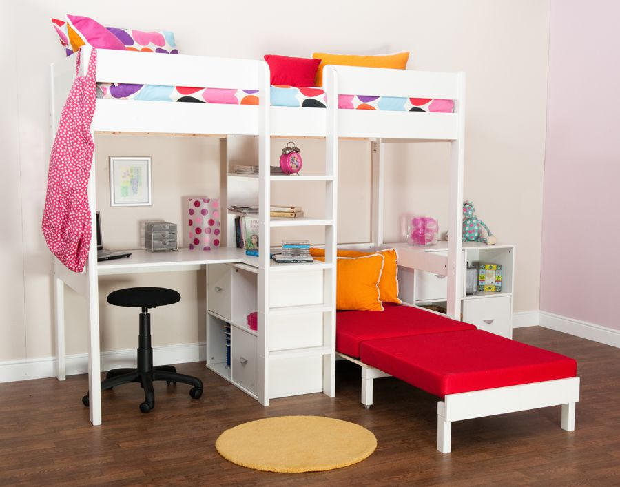 bunk beds stompa uno wooden high sleeper with futon. Black Bedroom Furniture Sets. Home Design Ideas