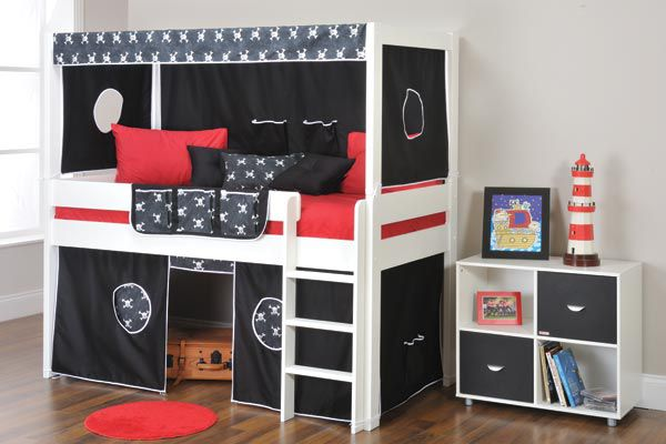 Boys Beds Stompa Play Mid Sleeper Bed Frame With Slide