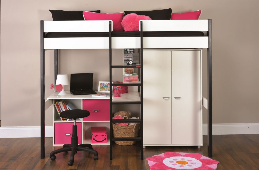 Bunk Beds Stompa Uno Wooden High Sleeper With Wardrobe
