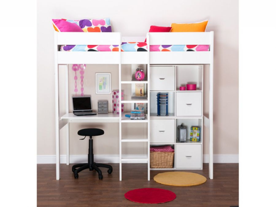 Bunk Beds Stompa Uno Wooden High Sleeper With Storage Cubes