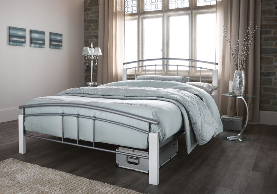 Metal Beds Serene Tetras Silver And White Metal Bed
