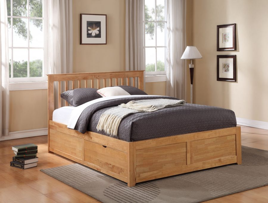 Storage beds flintshire furniture pentre wooden bed with for Storage beds uk