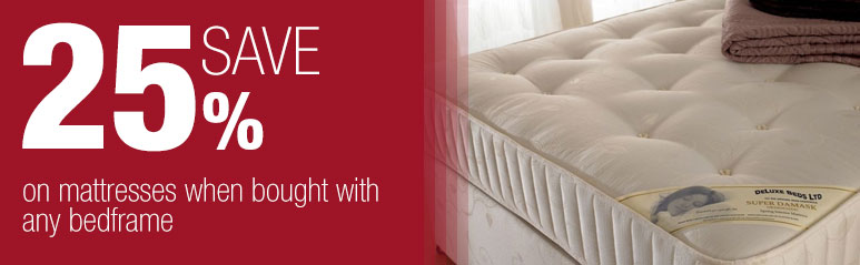 Save 25% on mattresses when bought with any bedframe